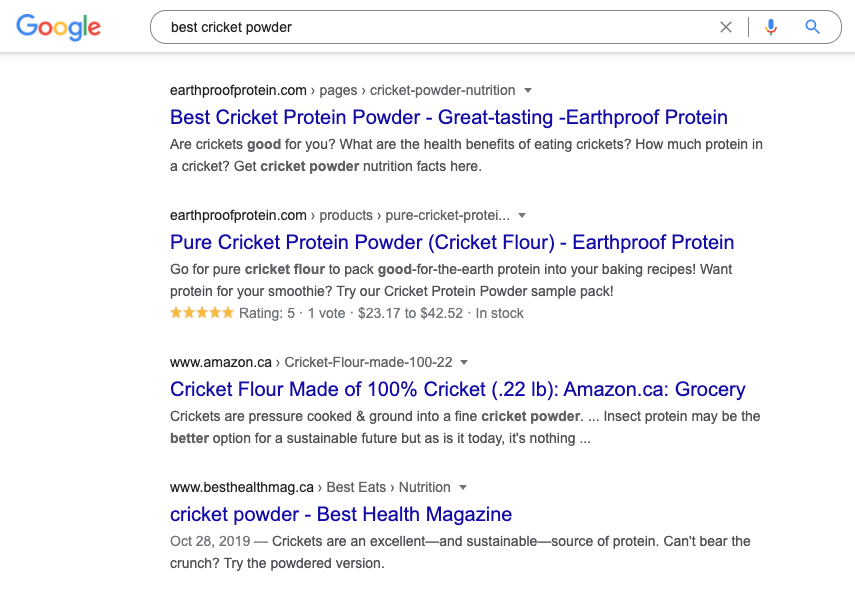 Earthproof SERPs